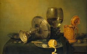 Картинка лимон, картина, Натюрморт, кубок, Виллем Клас Хеда