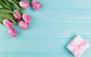 Картинка любовь, цветы, подарок, сердечки, тюльпаны, love, розовые, fresh, wood, pink, flowers, beautiful, romantic, hearts, tulips, …