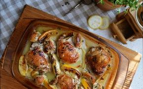Картинка Лимон, Еда, жареная курица