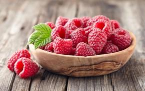Обои ягоды, корзинка, малина, листья