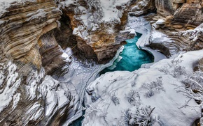 Картинка река, Канада, Джаспер, Альберта, Атабаска, зима, национальный парк, горы, снег