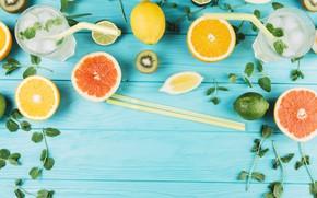 Картинка лимон, апельсин, лёд, лайм, мята, лимонад