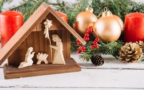 Картинка праздник, игрушки, новый год, шишки, ветки ели