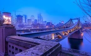 Картинка мост, огни, туман, река, синева, дома, утро, Германия, фонари, набережная, Франкфурт-на-Майне