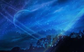 Картинка небо, деревья, ночь, планета