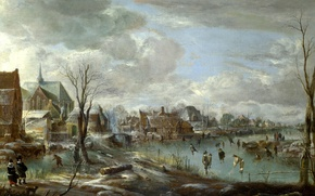 Картинка пейзаж, дома, картина, Замерзшая Река возле Деревни, Арт Ван дер Нер, Aert van der Neer