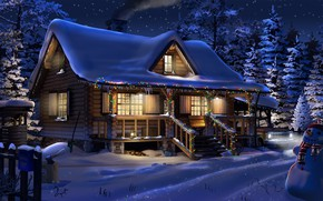 Обои зима, строение, снег, Big Dipper, гирлянда