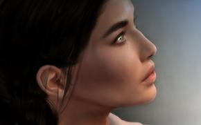 Картинка взгляд, лицо, фон, волосы, профиль, красотка