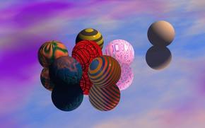 Картинка шары, разноцветные, фон