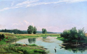 Обои холст, картина, Пейзаж с Озером, масло, Иван Шишкин, природа