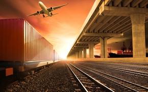 Обои корабли, самолет, гравий, состав, станция, зарево, порт, фотошоп, шпалы, железная дорога, солнце, небо, рельсы, вагоны
