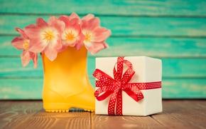 Картинка цветы, праздник, подарок, лента, 8 марта, тюльпаны розовые
