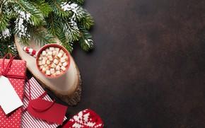 Картинка украшения, елка, Новый Год, Рождество, чашка, подарки, Christmas, cup, chocolate, Merry Christmas, Xmas, какао, cocoa, …