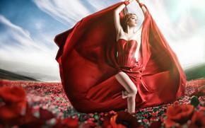 Обои красное платье, модель, Jessica Truscott, платье, цветы, стиль, поза