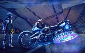 Картинка мужик, мотоцикл, экипировка, Sci-Fi Bike