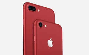 Картинка Apple, iPhone, logo, smartphone, iPhone 7, iPhone 7 Plus Red, iPhone Red, iPhone 7 Red