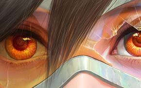 Картинка глаза, девушка, очки, art, tracer, overwatch, Lena Oxton