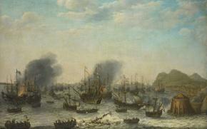 Картинка корабль, масло, картина, парус, холст, баталия, Победа над Испанцами в Гибралтаре, Адам Уиллаертс