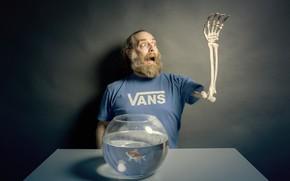 Обои рука, рыбка, человек