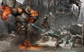 Картинка лес, чудовище, воины, схватка, God of War 4