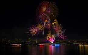 Картинка огни, праздник, здание, красота, Tokyo, Japan, Rainbow Bridge, салюты