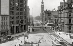 Картинка ретро, улица, дома, трамвай, США, 1890-й год