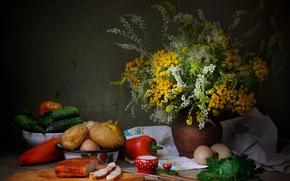 Картинка зелень, яйца, букет, перец, натюрморт, огурцы, картошка, сало
