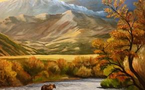 Картинка осень, деревья, пейзаж, горы, река, медведь