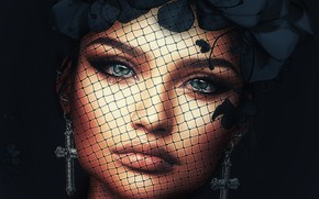 Картинка девушка, лицо, крест, серьги, венок, вуаль