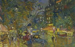 Картинка улица, дома, картина, автомобиль, городской пейзаж, Константин Коровин, Вечер в Париже