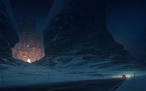 Картинка car, city, lights, road, landscape, nature, night, art, mountain, rocks, painting, artist, digital art, artwork, ...