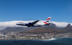 Обои небо, A-380, British Airways, море, Аэробус, город, полёт, Airbus, А380