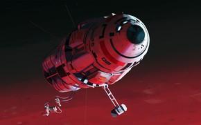 Картинка космос, звёзды, космонавты, аппарат, sunrise in orbit