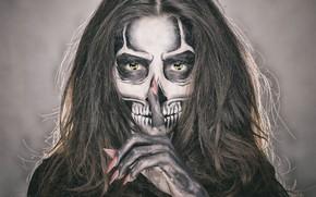 Картинка глаза, девушка, лицо, стиль, волосы, череп, макияж, скелет, маникюр