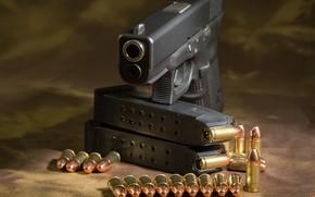 Обои пистолет, патроны, glock