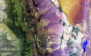 Обои Земля, фото, краски, горы, NASA