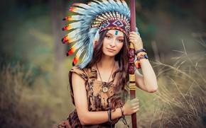Обои лук, роуч, Екатерина Домбругова, девушка, перья, боке, индианка