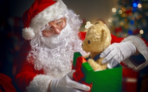 Картинка Новый Год, Рождество, merry christmas, gift, decoration, christmas tree, santa claus