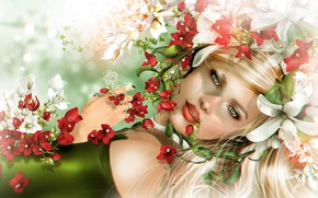 Картинка цветы, Девушка, Рендериг