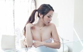 Картинка лицо, фон, тело, азиатка