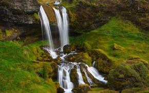 Картинка скалы, водопад, поток, Исландия