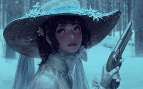 Картинка painting art, snow, snowfall, dress, face, art, Girl, brunette, weapon, gun, blue eyes, pistol, bow, ...