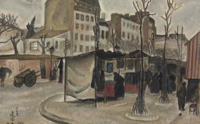 Картинка деревья, люди, дома, коляска, 1918, Цугухару, Фудзита, Парижский рынок