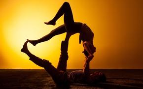 Картинка woman, man, couple, figures, silhouettes, Yoga, technique