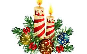 Картинка фон, новый год, свечи