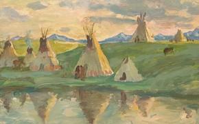 Картинка жилища, Joseph Henry Sharp, Glacier Park, Blackfeet