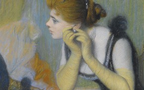 Картинка девушка, портрет, картина, Жемчужина, Федерико Дзандоменеги, Federico Zandomeneghi