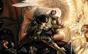 Картинка Свет, Крылья, demon, light, girl, fantasy, Тьма, Ангелы, Демоны, horns, wings, boy, couple, angel, good, …