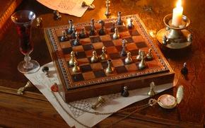 Картинка часы, вино, свеча, шахматы