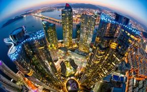 Картинка city, lights, sea, ocean, bridge, sunset, South Korea, night, buildings, skyscrapers, bay, cityscape, Seoul